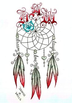 Dream Catcher tattoo by Denise A. Wells including butterfly, feathers, hanging charms, lettering and initials. Google my name for more of my tattoo designs!