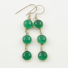 Genuine Green Agate Solid Sterling Earrings. Starting at $1 on Tophatter.com!