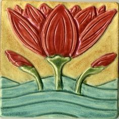 Water Lily and Lily Pad Tile Set custom made by Ravenstone Tiles