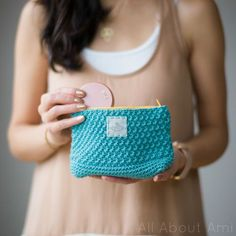 Make a cute crochet pouch with 24/7 Cotton! Free pattern by All About Ami.