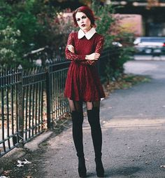 Le Happy wearing lace dress in doll costume or hipster Aurora? Fashion 90s, Tokyo Street Fashion, Dark Fashion, Grunge Fashion, Gothic Fashion, Fashion Outfits, Womens Fashion, Witch Fashion, Indie Outfits