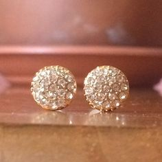 Crystal Post Stud Earings Small gold tone stud covered in crystals. For pierced ears. Please ask if you have questions. Jewelry Earrings