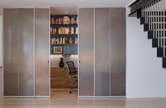 Sliding Glass Door Design Parade for Your Modern Home: Closet Styled Frosted Glass Doors To Tuck Away Home Office Space With White Interior . Sliding Door Room Dividers, Room Divider Doors, Sliding Door Design, Sliding Closet Doors, Sliding Glass Door, Glass Doors, Sliding Wardrobe, Glass Walls, Wardrobe Doors