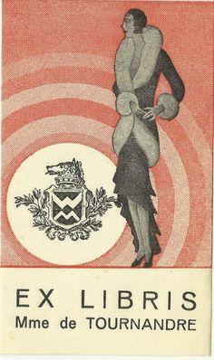ex libris bookplate hungary 1930s fashion costume art deco