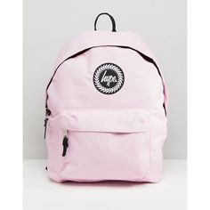 Hype Badge Backpack (57 NZD) ❤ liked on Polyvore featuring bags, backpacks, pink, cat bag, pink bag, logo backpack, top handle bags and pink lining backpack