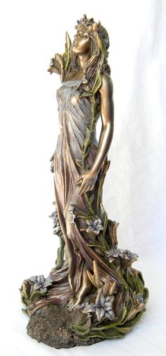 Bronze Art Nouveau Awakening Mucha Lady and Lillies Statue