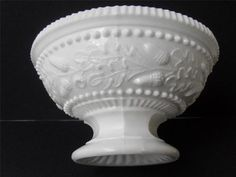 White Milk Opaque Glass Pedestal Bowl with Acorn and Oak Leaf Decoration 3 High | eBay