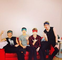 No one said it was okay for all of you to wear bandanas! Gah!! To much cuteness!