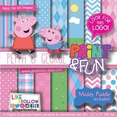 Digital Paper Peppa PIG Princess George Pig clip art Background Patterns pink baby blue for Party Printables bottle labels favor boxes