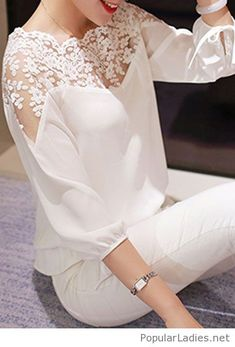 all-white-pants-and-lace-blouse