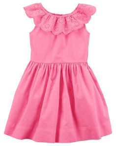 Eyelet Ruffle Neck Dress