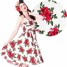 Hell Bunny Dress Flowers Cannes White Rockabilly Pin Up Floral All Sizes Floral Prom Dresses, Pin Up Dresses, White Floral Dress, 50s Dresses, Women's Fashion Dresses, Milly Dresses, Fashion Fashion, Robe Swing, Swing Dress