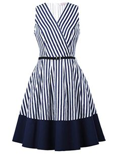 Belle Poque 2017 Women Retro Striped Dress Summer Casual Female Clothes Sexy Sleeveless V Neck Ruffle Robe Vintage Work Dresses Simple Dresses, Day Dresses, Cute Dresses, Vintage Dresses, Dress Outfits, Casual Dresses, Short Dresses, Girls Dresses, Fashion Outfits