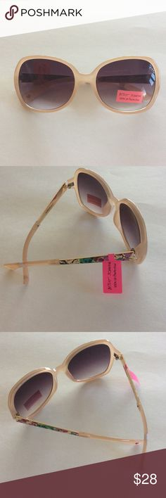 Betsey Johnson sunglasses Betsey Johnson sunglasses, beige pink plastic with floral painted gold sides and grey purple lenses.  100% UV protection.  NWT Betsey Johnson Accessories Sunglasses