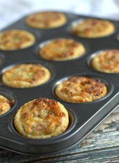 Mini Ham and Edam Cheese Quiches Mini Quiche Recipes, Puff Pastry Recipes, Puff Pastries, Edam Cheese, Ham And Cheese, Mini Quiches, Savory Snacks, Savoury Dishes, Brunch Recipes