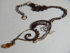 Collana con Farfalla in rame Marrone e Bronzo  Necklace with