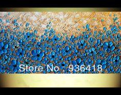 На современный Handpainted абстрактные импасто мастихином синий улыбка цветы домашнего декора стены искусства гобелены искусства