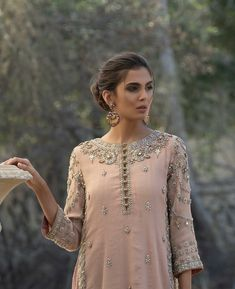 Master crafted in age old techniques using modern day sensibilities. a Pakistani Couture Pakistani Fancy Dresses, Pakistani Party Wear, Pakistani Wedding Outfits, Pakistani Couture, Pakistani Dress Design, Indian Dresses, Shadi Dresses, Kurti Designs Party Wear, Desi Clothes