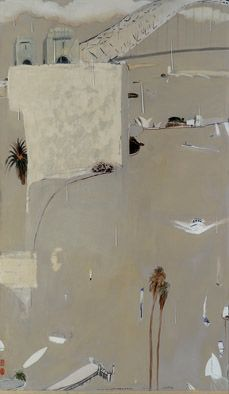 Brett Whiteley, Sydney Harbour in the rain, 1976-77 oil, charcoal, pen, pencil and plaster on plywood and oil on glass, 199 x 177.8 cm