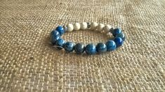 Lapis Lazuli and White Howlite unisex bracelet. Appropriate for both men and…