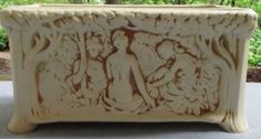 VINTAGE-Rare-Weller-Ivory-Nudes-In-Forest-Window-Box Weller Pottery, Vintage Pottery, Nudes, Shabby Chic, Ivory, Windows, Ceramics, Antiques, Metal