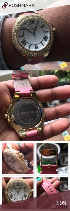 💎⌚️Michael Kors⌚️💎 Pink Embossed Croco Camille Michael Kors Slim Camille White Dial Pink Leather Ladies Watch. Stainless steel case with a pink leather strap. Fixed gold-tone bezel set with crystals. 🔴Watch is used and has flaws from normal wear. No scratches on the face but some on the back. No stones missing, and battery is working. 🔴Case measurements: 41 mm. Case thickness: 9 mm. Round case shape. Band width: 20 mm. Tang clasp. Water resistant at 50 meters. Model: MK2329 Michael Kors…