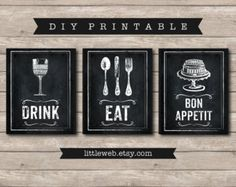 Eat & Drink Printables Chalkboard Art Print Kitchen Wine