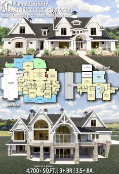 Plan Modern Farmhouse With Dramatic Views To The Rear Architectural Designs Home Plan gives you bedrooms, baths and sq. Where do YOU want to build New House Plans, Dream House Plans, House Floor Plans, Mansion Floor Plans, Brick House Plans, Large House Plans, 5 Bedroom House Plans, 3 Bedroom Floor Plan, Mansion Bedroom