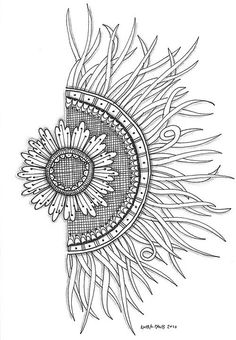 sun flower doodle/ half a mandala! Tangle Doodle, Tangle Art, Zen Doodle, Doodle Art, Zentangle Drawings, Doodles Zentangles, Zentangle Patterns, Doodle Drawings, Doodle Inspiration