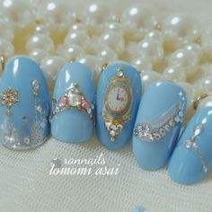 Cute Nail Art Ideas to Try - Nailschick Cinderella Nails, Disney Princess Nails, Disney Nails, Princess Nail Designs, Disney Nail Designs, Cute Nail Art, Cute Nails, Pretty Nails, Disneyland Nails
