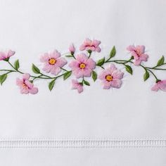 Silk Ribbon Embroidery Flowers Cherry Blossom Pillowcases, Pair 13 Pair In Stock - Types Of Embroidery, Learn Embroidery, Hand Embroidery Patterns, Embroidery Kits, Machine Embroidery Designs, Embroidery Stitches, Embroidery Supplies, Hardanger Embroidery, Silk Ribbon Embroidery