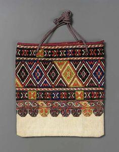Rectangular bag Greek, 19th or 20th century , Linen, embroidery Europe Balkan, Ethnic Accessories, Colección Verano, Folk Textiles Fabre, Etno Beautiful,