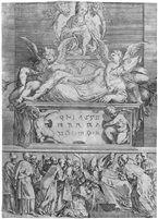 Das Grabmal eines Bischofs (after Parmigianino) von Battista Angolo del Moro