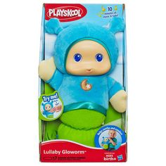 Sleep time is cuddly time with this easy-to-squeeze Playskool Play Favorites LULLABY GLOWORM toy in Blue!