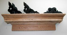 Cornice shelf. Some of these pieces have been salvaged from century homes, others built with vintage wood. Beautiful.