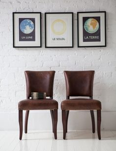 Vintage Leather Dining Chairs For The Dining Table And The Prints Are Cool  Too!