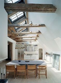 Fancy - Scandinavian Converted Barn I love the old exposed wood and skylights for natural bright light