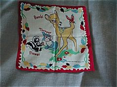 Vintage Child's Bambi Hadkerchief 1950. Click the image for more information.