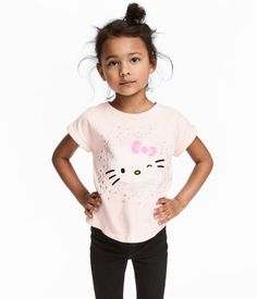 Trikåtopp med tryck | Ljusrosa/Hello Kitty | Barn | H&M SE