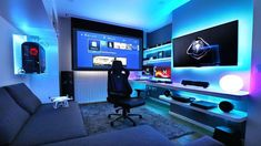 office cave Computer Gaming Room, Computer Desk Setup, Video Gaming Rooms, Cool Gaming Setups, Gaming Desk Setup Ideas, Pc Setup, Man Cave Ideas Gamer, Tech Room, Gamer Bedroom