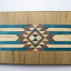 Modern Boho Wood Wall Art - Blue