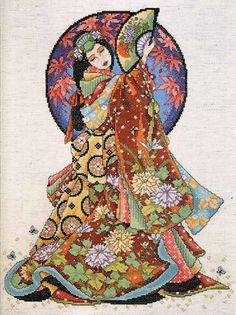 ru / Фото - Joan Elliot - A Cross Stitcher's Oriental Odyssey - 2001 - tymannost Counted Cross Stitch Patterns, Cross Stitch Designs, Cross Stitch Embroidery, Chinoiserie, Asian Art, Japanese Art, Cross Stitching, Artwork, Painting