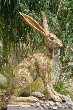 Mosaic sculpture Jackrabbit PJ Halloran #mosaic #mosaicsculpture