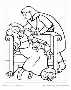Color Rapunzel and the Prince | Rapunzel, Worksheets and Activities