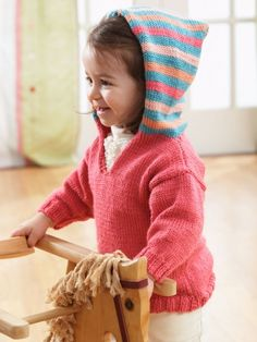 Free Pattern - Fun #knit hooded pullover with a matching striped hood ideal for peek-a-boo