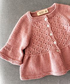 """Ravelry: Alouette pattern by Lisa Chemery"", ""Discover thousands of images about Ravelry: Round Yoke Card Knit Baby Dress, Knitted Baby Cardigan, Knitted Baby Clothes, Knitting For Kids, Baby Knitting Patterns, Baby Patterns, Cardigan Bebe, Cardigan Pattern, Crochet Baby"
