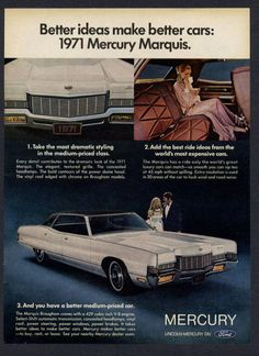 Determine additional information on vintage cars. Take a look at our web site. Vintage Advertisements, Vintage Ads, Vintage Trends, Mercury Marquis, Edsel Ford, Mercury Cars, Ford Lincoln Mercury, Most Expensive Car, Car Advertising