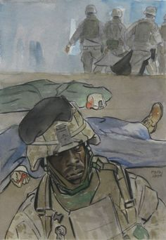 Watercolor painting shows the emotional impact of losing fellow Marines on the battlefield.  Original painting by CWO2 Mike Fay, USMCR. The painting is one of thousands of works in the Art Collection at the National Museum of the Marine Corps. #Marines #combat #NMMC #USMC #GWOT