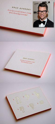 Brad Goreski business cards by Sarah Drake via designworklife