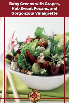 Try this delicious mixed baby greens salad recipe featuring grapes from California and a gorgonzola vinaigrette dressing. #babygreenssalad #babygreens #babygreenssaladrecipes #babygreensrecipes #recipes #mixed simple #dressing #gorgonzola #greens #lettuce #lettuces #grapes #graperecipes Grape Recipes, Green Salad Recipes, Summer Recipes, Side Dish Recipes, Side Dishes, California Food, Vinaigrette Dressing, Salad Ingredients, Healthy Salads